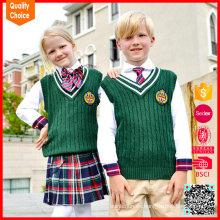 Niños 100% algodón de color verde mangas sin mangas chaqueta de punto de la escuela