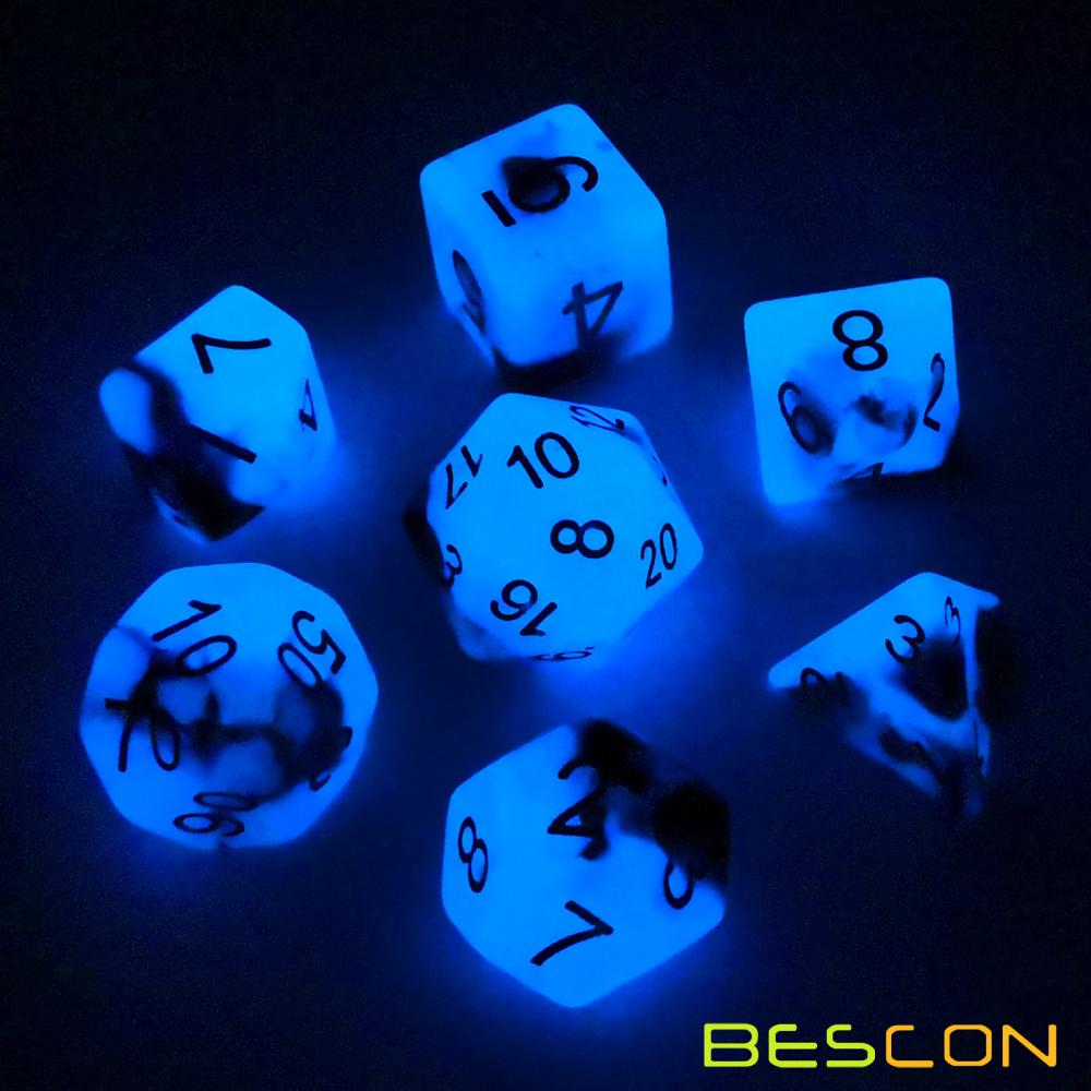 Bescon+Two-Tone+Glow-in-the-Dark+Polyhedral+Dice+Set+BLUE+DAWN%2C+Luminous+RPG+Dice+Set+d4+d6+d8+d10+d12+d20+d%25+Brick+Box+Pack