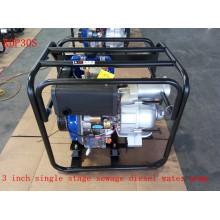 Pompe à eau diesel d'eau d'égout simple d'étape de 3 pouces pour l'utilisation de traitement d'eau (KDP30S)
