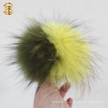 Super Large Raccoon Fur Ball Подлинный рак, окрашенный мехом Pompom для Beanies Keyring