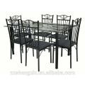 Chaises en table de salle à manger en verre tempéré en verre avec tube en acier