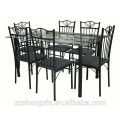 Tempered Glass Top Metal Dining Table Chairs with Steel Tube