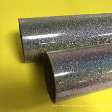 High quality rainbow glitter hot peel printable heat transfer vinyl film for Clothing