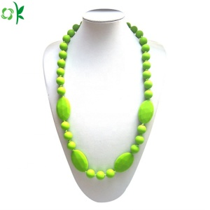 BPA Free Silicone Necklace Teether Baby Chew Beads