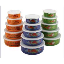 Enamelware / Storage Bowl com tampa de plástico