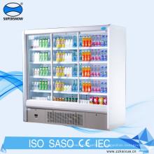 Réfrigérateur vertical à armoire à 4 portes en verre
