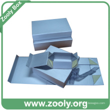 Small Silver Paper Jewelry Folding Boxes with Decorated Ribbon