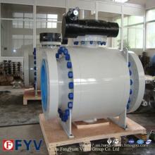 Válvula de bola de brida A105 de acero forjado con engranaje