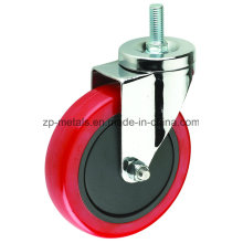 3inch Medium-Duty Red PVC Screw Caster Wheel
