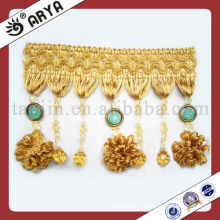 Long Golden Beaded Fringe With Sweet Pompom For Curtain Decorative