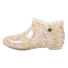 Pvc Boots With Colored Flower Printing Lining