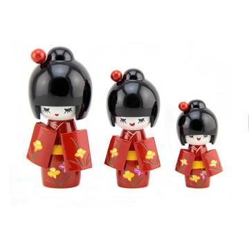 neueste Design Holz Handwerk Dekoration liefert japanische Puppe