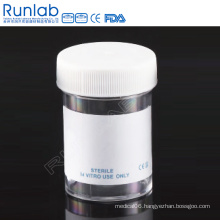 CE Marked PS 60ml Universal Specimen Containers with Screw Cap and Plain Label