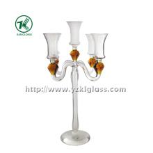 Bougeoir en verre pour la décoration avec trois affiches (10 * 22 * 36)