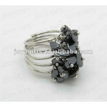 silver color Hematite chip stone wrap rings