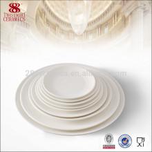 White Ceramics Bone china round plate for hotel