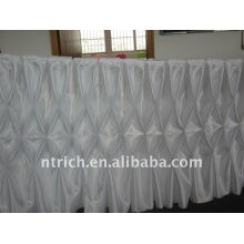 Fascinating!!! gathered table skirts white colour satin table cloth/table skirt,honeycomb style,fashion design