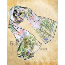 Fashion oil painting like print long scarf 100% silk scarf