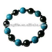 "Magnetic Hematite turquoise Beaded Bracelet 7.25"""