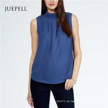 Mujer Azul Top Blusa