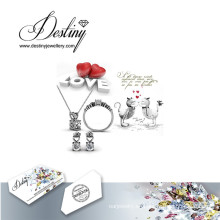 Destino joyería cristal de Swarovski sobre todo Set pendientes y colgante anillo