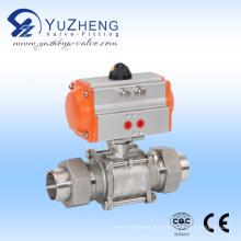 Válvula de bola de acero inoxidable 3PC con actuador neumático