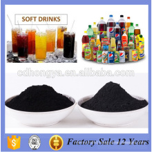 Soft drink wine with low ash activated carbon powder