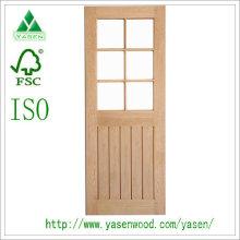 Porte en bois de chêne rouge décorée par 6 verre