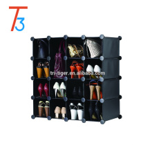 Black folding PP shoe rack bedroom hanging wardrobes cub organizer