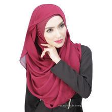 Été cool Dubaï couleur unie en mousseline de soie musulmane hijab casquette et écharpe twinset