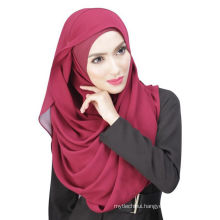 Summer cool Dubai solid color chiffon muslim hijab cap and scarf twinset