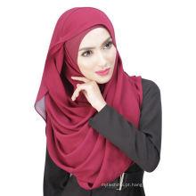 Verão fresco Dubai cor sólida chiffon muçulmano hijab cap e cachecol twinset