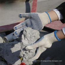 NMSAFETY 10 polycoton naturel de calibre avec des points de PVC sur le gant de sécurité de construction de paume