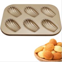 Moule à gâteau anti-adhésif en forme de coquille Madeleine 6pcs