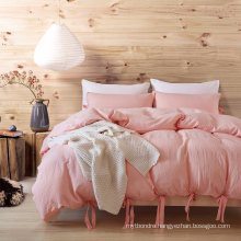Gyptian Quality Vibrant Stone Washed Microfiber Pink Duvet Cover Queen Size 3 PCS Set
