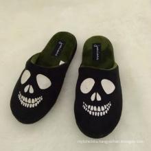 Black skull printing kids boys winter shoes for kids slipper home wear