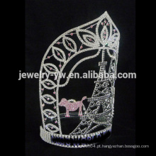 Beleza grande Tall tower rhinestone Custom pageant crowm