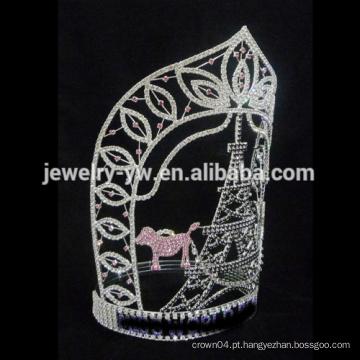Beleza grande Tall tower rhinestone Custom pageant crowm