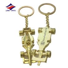 Llavero barato del oro del coche del bastidor con el logotipo