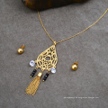 Dubai Rani Haar 24K Gold Frauen Diamant Schmuck Set Zirkonia Quaste Halskette