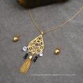 Dubai Rani Haar 24K Gold Women Diamond Jewelry Set Zirconia Tassel Necklace