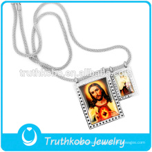 Latest Long Silver Snake Chain Necklace With Jusus Father And Mother Mary Pendants