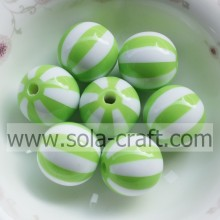 Czech Lantern 12MM Green & White Striped Loose Round Jewelry Fashion Resin Beads Manufacturers Jewelry Beads Wholesale
