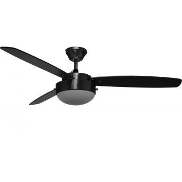 ventilador de teto preto de 52 polegadas com luz LED
