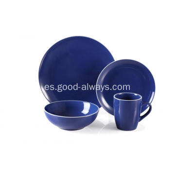 Pieza 16 gres cena Set real Color azul con borde blanco
