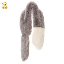 Super Quality Real Natural Color Bicolor Deyed Fox Fur Muffler For Ladies