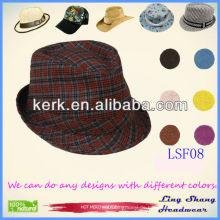 LSF08 Ningbo Lingshang 2014 Großhandel Kurzer Brim Baumwolle Fedora benutzerdefinierte Eimer Hut