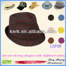LSF08 Ningbo Lingshang 2014 Wholesale Short Brim Cotton Fedora custom bucket hat
