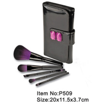 5pcs makeup brush tool set with black PU folder