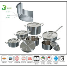 Stainless Steel Cookware Set 3 Ply Body Kitchenware